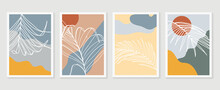 Palm Leaves Wall Art Vector Set. Earth Tone Boho Foliage Line Art Drawing With Abstract Shape. Tropical Plant Art Design For Print, Cover, Wallpaper, Minimal And Natural Wall Art.