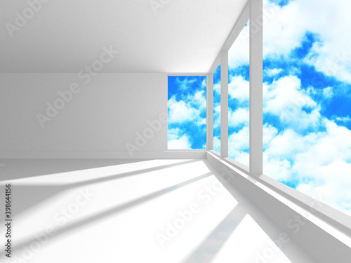 Empty white architecture with sky view