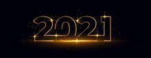 2021 Happy New Year Golden Shiny Text Banner Design