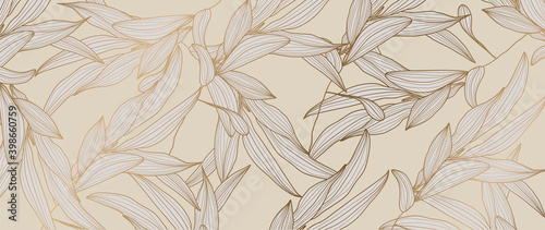 Fototapeta Olive brunch background vector. Gold and luxury natural leaves wallpaper for prints and fabric. vector illustration. obraz