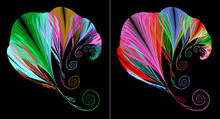 Several Bright, Colorful Abstract Fractal Parachutes Fly One After Another Against A Black Background. Parachute Lines End In Spiral. Graphic Design Elements Set. 3d Rendering. 3d Illustration.