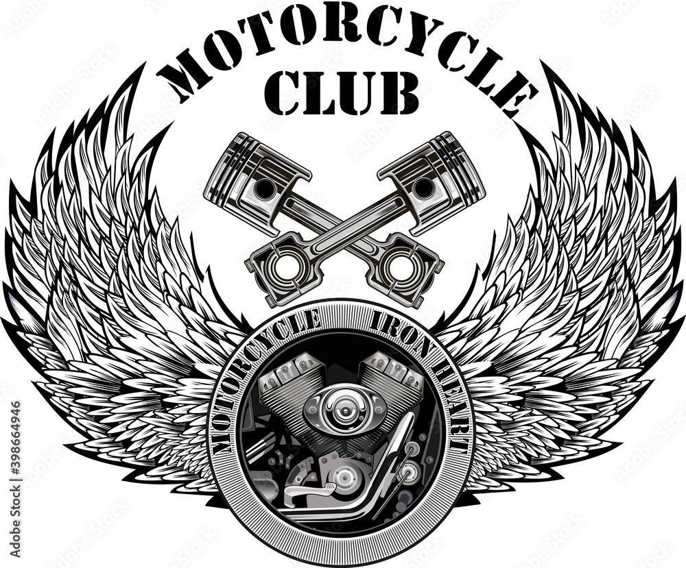 Fototapeta Vintage motorcycle label. Skull and Motor