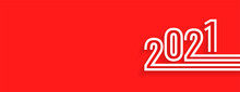 Stylish Striped 2021 On Red Background