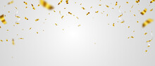 Celebration Background Template With Confetti Gold Ribbons. Luxury Greeting Rich Card.
