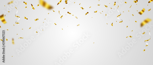 Fototapeta Celebration background template with confetti gold ribbons. luxury greeting rich card. obraz