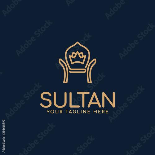 Fotomural throne, crown, chair, royal, sultan, luxury, minimalist and elegant logo design