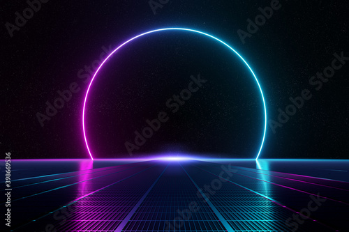 Obraz Abstract background pathway leading to blue and pink neon light circle reflecting on the floor 3D rendering - fototapety do salonu