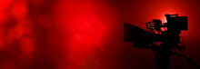 Video Camera In The Dark Banner With Red Light Bokeh, Movie Or Television Background With Copy Space