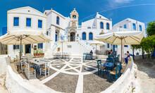 Porta Square Of Nikia Village View In Nisyros Island. Nisyros Island Popular Tourist Destination In Aegean Sea.