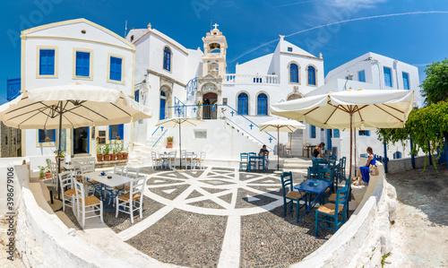 Fototapeta Porta Square of Nikia Village view in Nisyros Island. Nisyros Island popular tourist destination in Aegean Sea. obraz