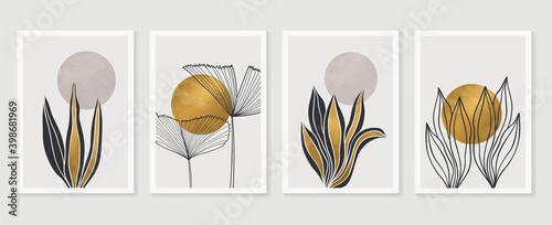 Canvas Print Gold Botanical wall art vector set
