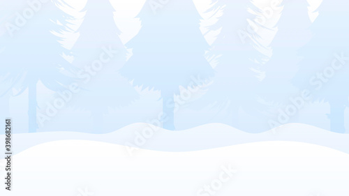 Fototapety, obrazy: Winter in the forest with fir trees. Delicate background for design on the theme of the New Year and Christmas. Vector.