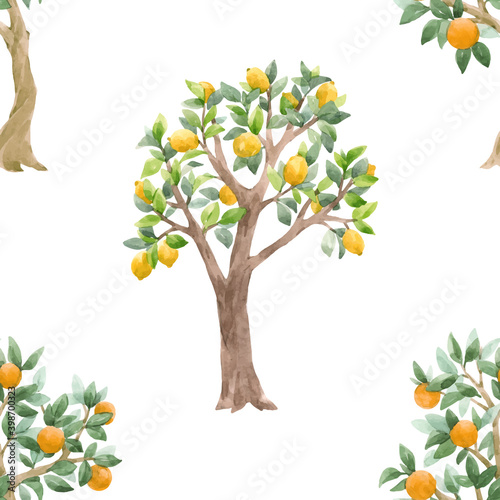 Fototapety, obrazy: Beautiful vector seamless pattern with cute watercolor fruit trees. Stock orchard illustration.