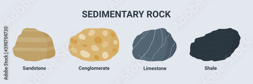 Obraz na plátně Sedimentary rock illustration set