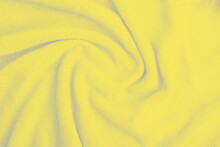 Close Up Of Yellow Knitted Textured Background. Trendy Color. Color 2021.