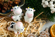 Three Cow Figures On A Christmas Background. Chinese New Year. Cute Smiling Toys.
