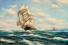 Sailing Ship At Sea. Oil Painting Picture