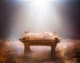 Fog And Empty Manger With Light Falling On It  -  Waiting For The Messiah