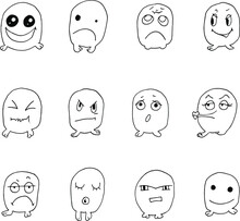 Isolated Vector Doodles With A Black Line On A White Background. Emotions. Sleeping, Angry, Smiling, Strict, Dissatisfied, Cunning, Freak, Scared, Sad, Excited, Calm. Different Color. Pink.