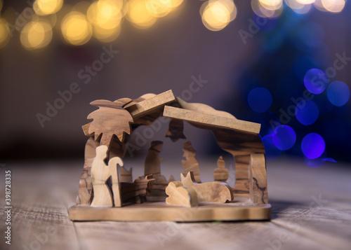 Cuadros en Lienzo nativity scene on wooden background