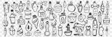 Glass Containers Doodle Set. Collection Of Hand Drawn Bottle, Jar, Vial, Flask For Keeping Liquids At Home Isolated On Transparent Background. Illustration Of Glassware Of Various Sizes And Shapes