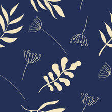 Seamless Pattern Leaves And Umbel On Blue Background