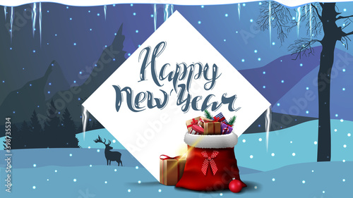 Fototapeta Happy New Year, blue postcard with white large diamond, Santa Claus bag with presents and winter landscape on background with mountains Happy New Year 2021 Merry Christmas xmas holiday sale decoration obraz na płótnie