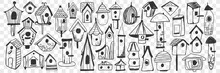 Birdhouse Doodle Set. Collection Of Hand Drawn Wooden Birdhouse Shelters For Feeding And Living During Cold Seasons Isolated On Transparent Background. Illustration Of Handmade Houses For Birds
