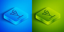Isometric Line Cocktail Icon Isolated On Blue And Green Background. Square Button. Vector Illustration