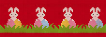 Knit Seamles Pattern With Easter Bunnies And Eggs In Grass. Happy Easter Red Background With Rabbits. Vector Illustration. Sweater Knitted Texture
