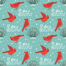 Let It Snow Red Cardinal Birds Seamless Pattern