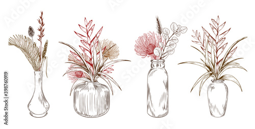 Exotic tropical flowers in vases.