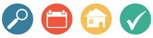 Bunter Banner Mit 4 Buttons: Ferienhaus Oder Unterkunft Zum Wunschtermin Suchen, Finden Und Buchen