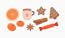 Christmas And Winter Food Vector Illustration Set.  Marshmallow Coffee, Dried Orange Slice, Tangerines, Cinnamon, Anise Seed, Candy, Gingerbread Cookies