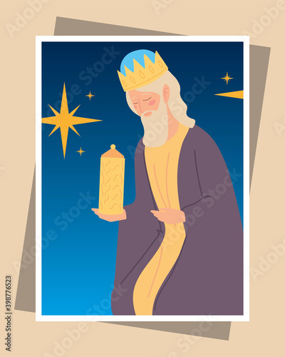 Fotografiet nativity caspar wise king with gift greeting card