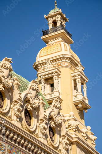 MONTE CARLO, MONACO 29.11.2020 Decoration elements, part of Monte Carlo historical building southern France. High quality photo Wall mural