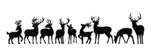 Vector Big Set Of Black Deer Stag Reindeer With Antlers.Outline Silhouette Stencil Drawing Illustration Isolated On White Background .Sticker.T Shirt Print.Plotter Cutting. Laser Cut. Christmas Decor.