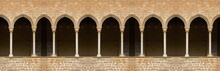Elements Of Architectural Decorations Of Buildings, Arches, Doorways And Windows. On The Streets In Catalonia, Public Places.