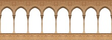 Elements Of Architectural Decorations Of Buildings, Columns And Arches. On The Streets In Catalonia, Public Places.