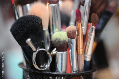 multi-colored makeup brushes in all sizes Fototapete