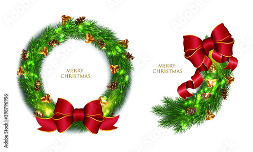 Photo Realistic Christmas wreath and branch
