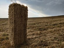 Hay Bales In The Field. Black Big Rain Clouds. Before The Rain
