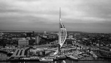 Harbour Of Portsmouth England With Famous Spinnaker Tower - Aerial View - Travel Photography