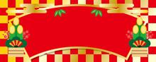 鮮やかなインパクトある市松模様の扇型お正月ヘッダー背景デザイン/横長