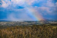 Rainbow In The Countryside Of Maui Island, Hawaii
