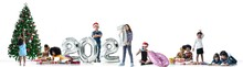 Children Of Different Color And Races Have Fun With Metallic Silver Number Balloons And Christmas Trees, A Diverse Group Of Children, 2021 Happy New Year, White Background