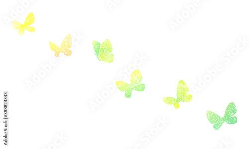Fotografiet 水彩テクスチャシルエットの蝶