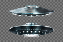 UFO. Unidentified Flying Object. Futuristic UFO On A Transparent Background. Vector Illustration.