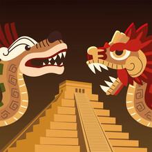 Aztec Snakes Pyramid Culture Folkore Traditonal