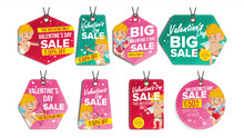 Valentine S Day Theme Sale Tags Vector. Flat Paper Hanging Love Stickers. Cupid. February 14 Discount Hanging Banners For Holiday Discount Promotion. Winter Illustration